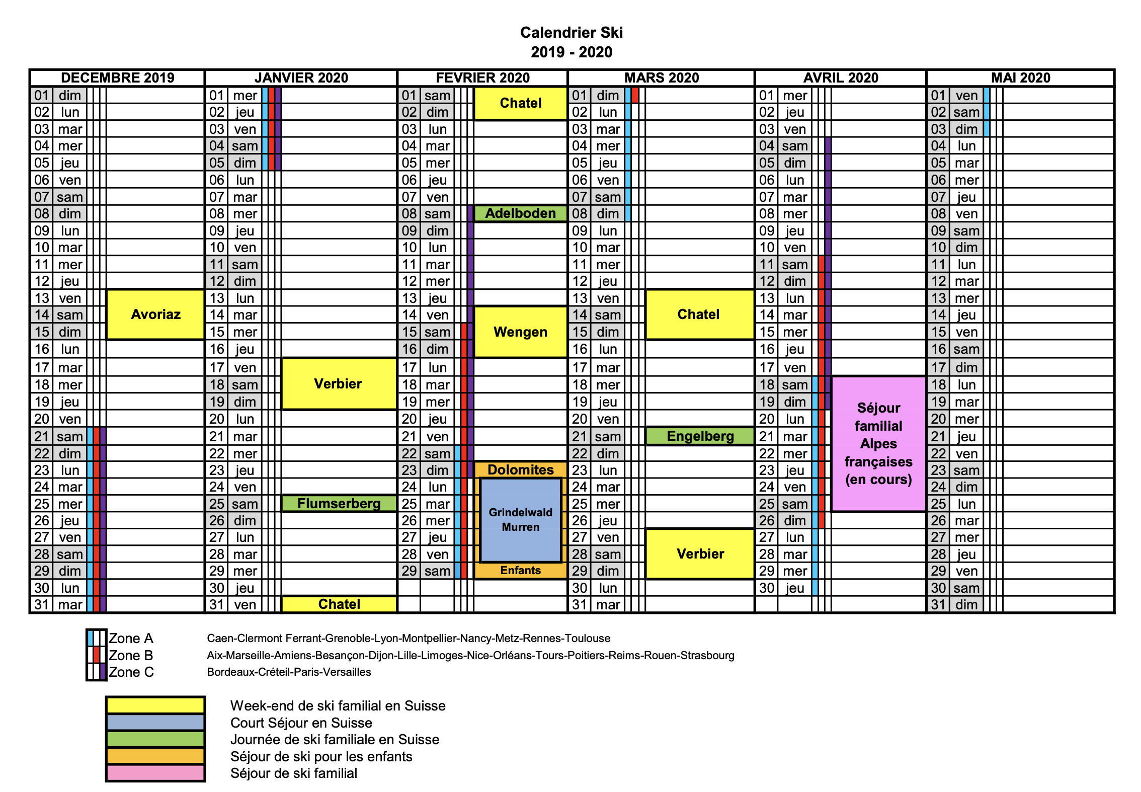 Image du calendrier ski 2019-2020